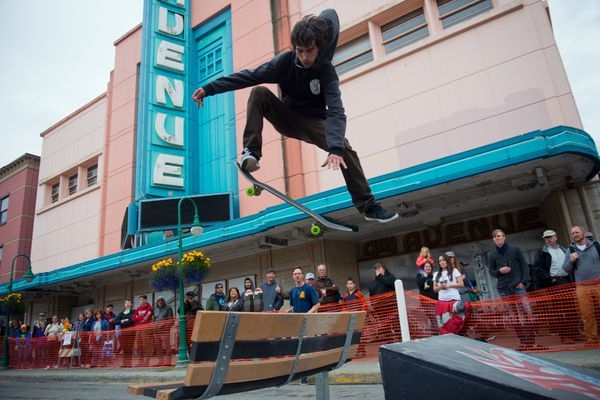 Lorenzo Marqueda hits a ramp on a skateboard street course during the Solstice Festival. Part of 4th Avenue was closed off to make way for food and entertainment at the Downtown Summer Solstice Festival on Saturday, June 21, 2014. (Marc Lester / Anchorage Daily News archive)