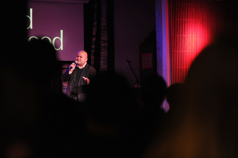 Stand-up comedian and host Matt Jardin performs at Williwaw in downtown Anchorage, Alaska, on Saturday, Feb. 18, 2017. (Bob Hallinen / Alaska Dispatch News)