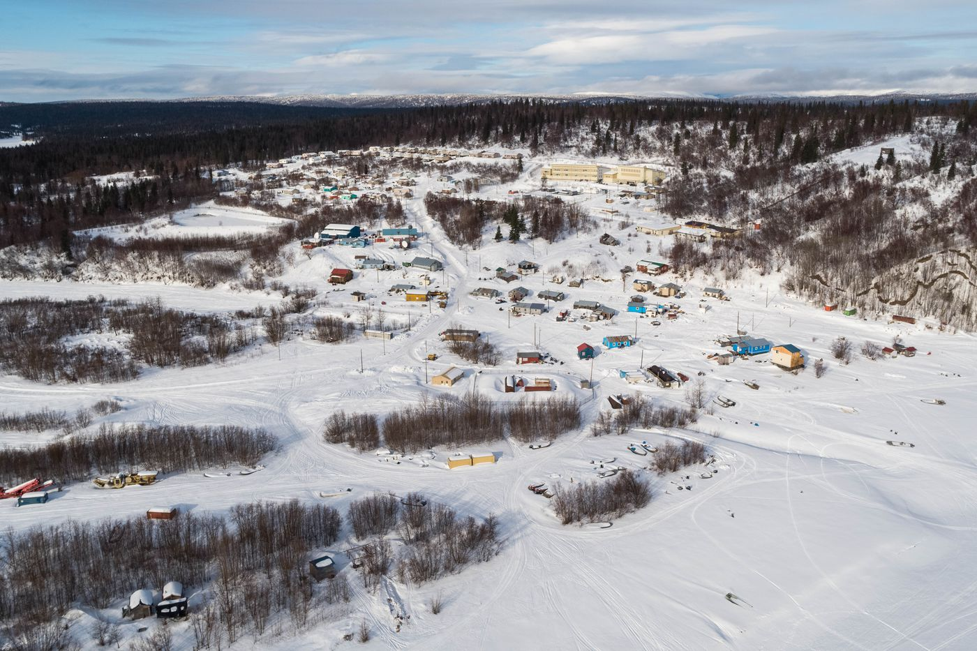 Russian Mission, population 340, sits on a bank of the Yukon River. Photographed on March 8, 2019. (Loren Holmes / ADN)