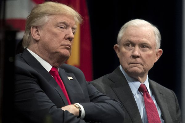 President Donald Trump and Attorney General Jeff Sessions at an FBI National Academy graduation ceremony in Quantico, Va., Dec. 15, 2017. (Tom Brenner/The New York Times file)