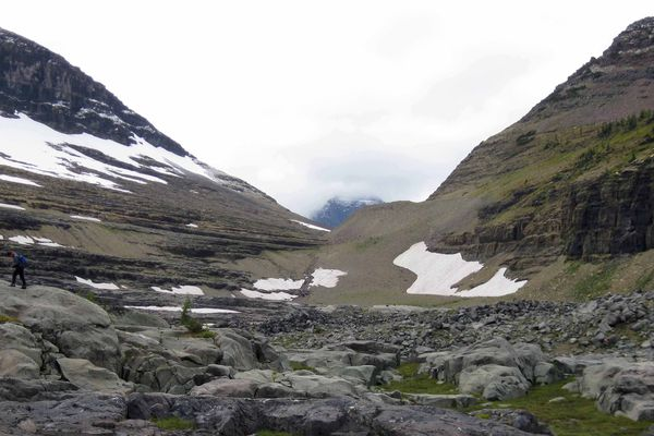 A 2012 photograph shows the remains of Boulder Glacier in Glacier National Park in Montana.