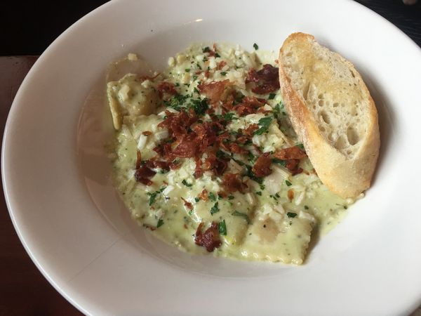 Cheese ravioli with a pesto cream sauce.at Table 6 in Midtown Anchorage. (Photo by Mara Severin)
