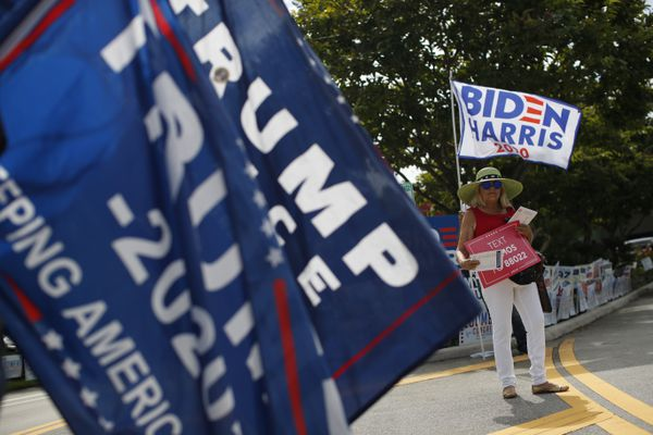 Supporters of President Donald Trump and former Vice President Joe Biden (obscured) wave flags and hand out information to arriving voters outside an early voting polling station in West Palm Beach, Fla., Friday, Oct. 30, 2020.(AP Photo/Rebecca Blackwell)