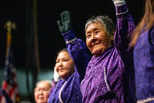Minnie Mekiana dances with the Nagsragmiut Inland Eskimo Dancers, a dance group from Anaktuvuk Pass, on Thursday, Oct. 16, 2019 during Quyana at the Alaska Federation of Natives convention at the Carlson Center in Fairbanks. (Loren Holmes / ADN)