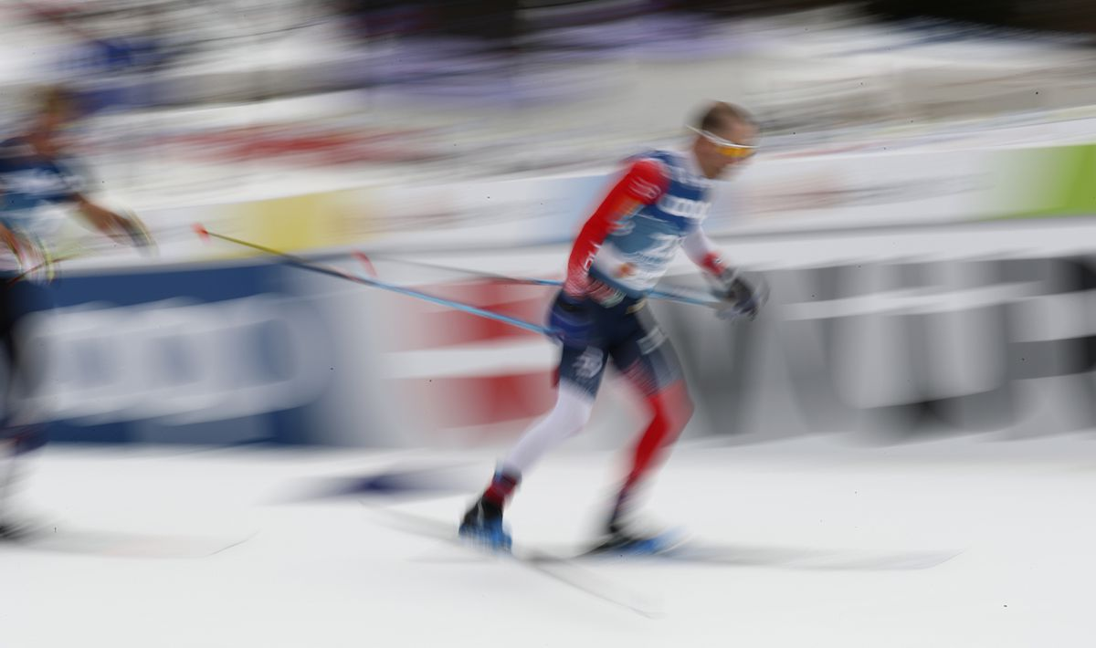 Norway's Sjur Roethe competes in the men's 15K freestyle race Wednesday at the World Championships in Oberstdorf, Germany. (Matthias Schrader / Associated Press)