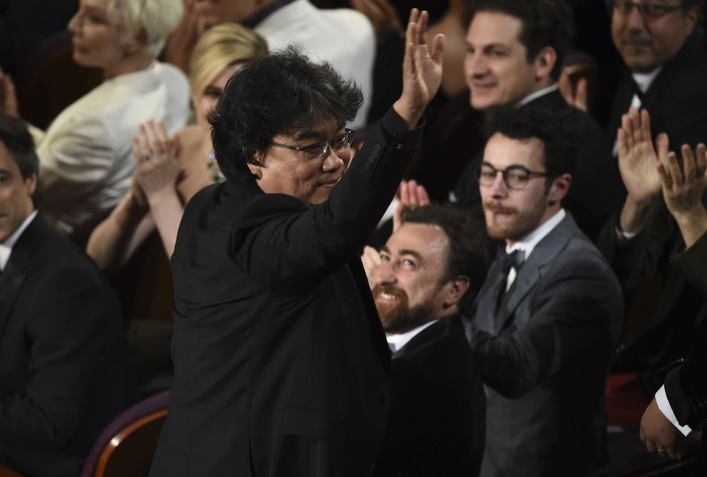Bong Joon-ho was seen in the audience before accepting the award for best original screenplay for 'Parasite ' at the Oscars on Sunday, Feb. 9, 2020, at the Dolby Theatre in Los Angeles. (AP Photo/Chris Pizzello)
