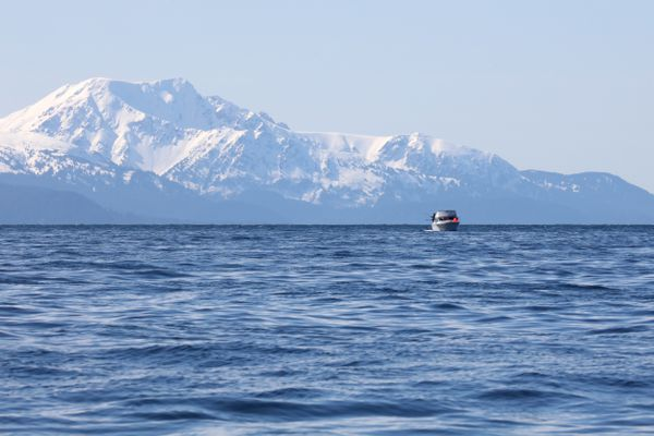 The snow is still in the mountains during a spring fishing charter out of Homer. (Photo by Steve Meyer)