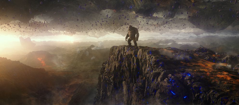 This image released by Warner Bros. Entertainment shows a scene from 'Godzilla vs. Kong. ' (Warner Bros. Entertainment via AP)