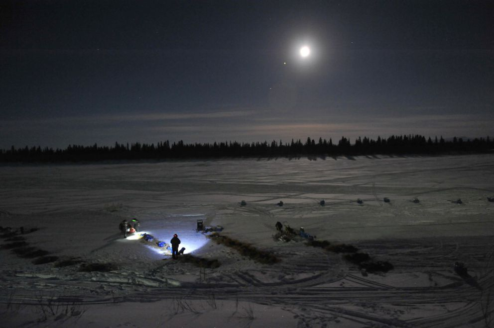 Mitch Seavey prepares to leave the White Mountain checkpoint in first place during the 2017 Iditarod Trail Sled Dog Race on Tuesday. (Bob Hallinen / Alaska Dispatch News)