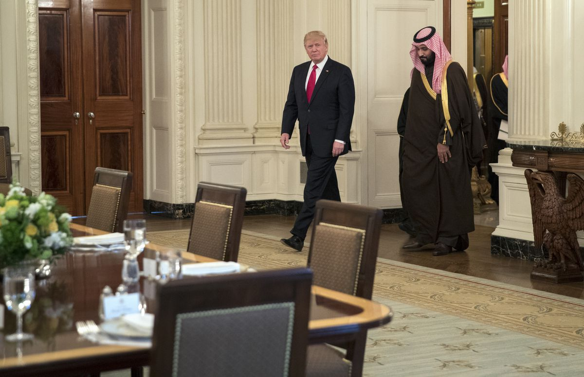 FILE– President Donald Trump arrives for lunch with Saudi Deputy Crown Prince Mohammed bin Salman, who is King Salman's son and the defense minister, in the White House in Washington, March 14, 2017. (Stephen Crowley/The New York Times)