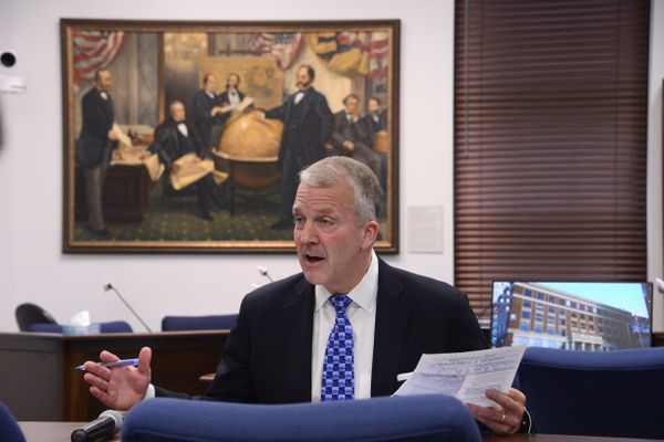 U.S. Sen. Dan Sullivan, R-Alaska, talks to reporters after his annual address to a joint session of the Alaska Legislature on Monday, May 3, 2021 at the Alaska State Capitol in Juneau. Sullivan's 2020 address was canceled amid the COVID-19 pandemic. (James Brooks / ADN)