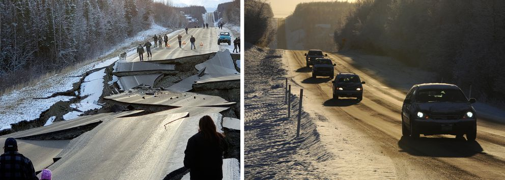LEFT: People walk over the section of Vine Road damaged in the earthquake on Nov. 30. (Jonathan M. Lettow via AP) RIGHT: Vehicles travel over the repaired section of Vine Road on Sunday. (Bill Roth / ADN)