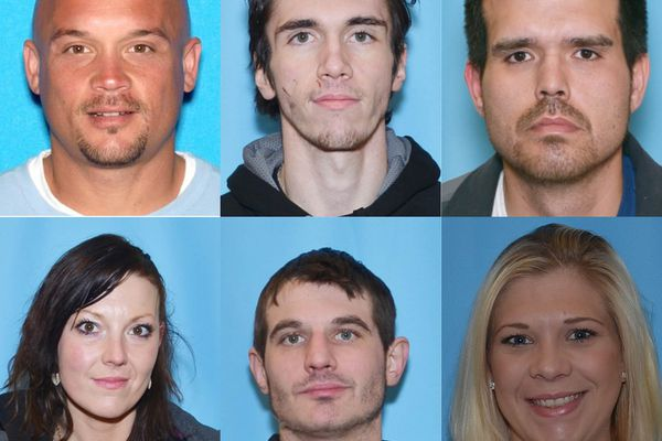 Clockwise from top left, David Alan Gonzales, Braden Asbury, Jonathan James, Sara Mae James, Brandon Madrid and Karri Embach are charged with conspiracy, bank fraud, mail theft, aggravated identity theft, and passing counterfeit money. (US Attorney's Office)