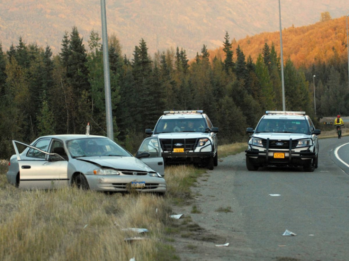 Anchorage police said this 1999 Toyota Corolla driven by Cami J. Donahue, 50, of Eagle River crashed along Eagle River Loop Road on Wednesday, Sept. 12, 2018. Donahue, who was uninjured, was arrested for operating under the influence. (Star photo by Matt Tunseth)