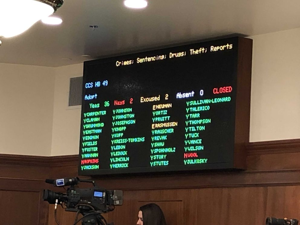 The voting board in the Alaska House of Representatives is seen after the final vote on House Bill 49, on Monday, May 20, 2019 during a special session of the Alaska Legislature. (James Brooks / ADN)