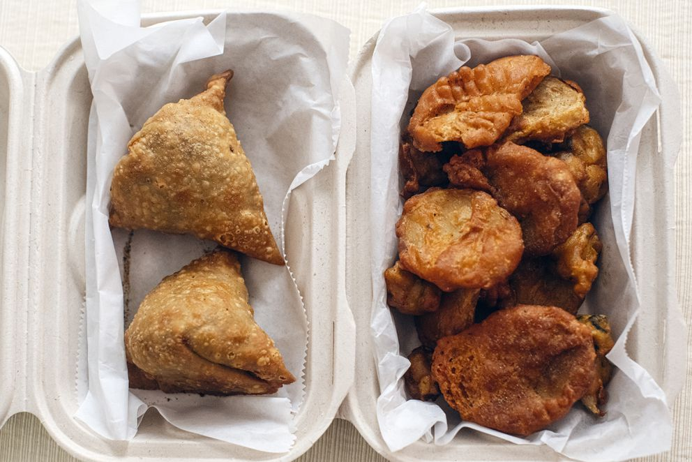 Veggie samosas and pakoras from Bombay South in Anchorage. (Photo by Kerry Tasker)