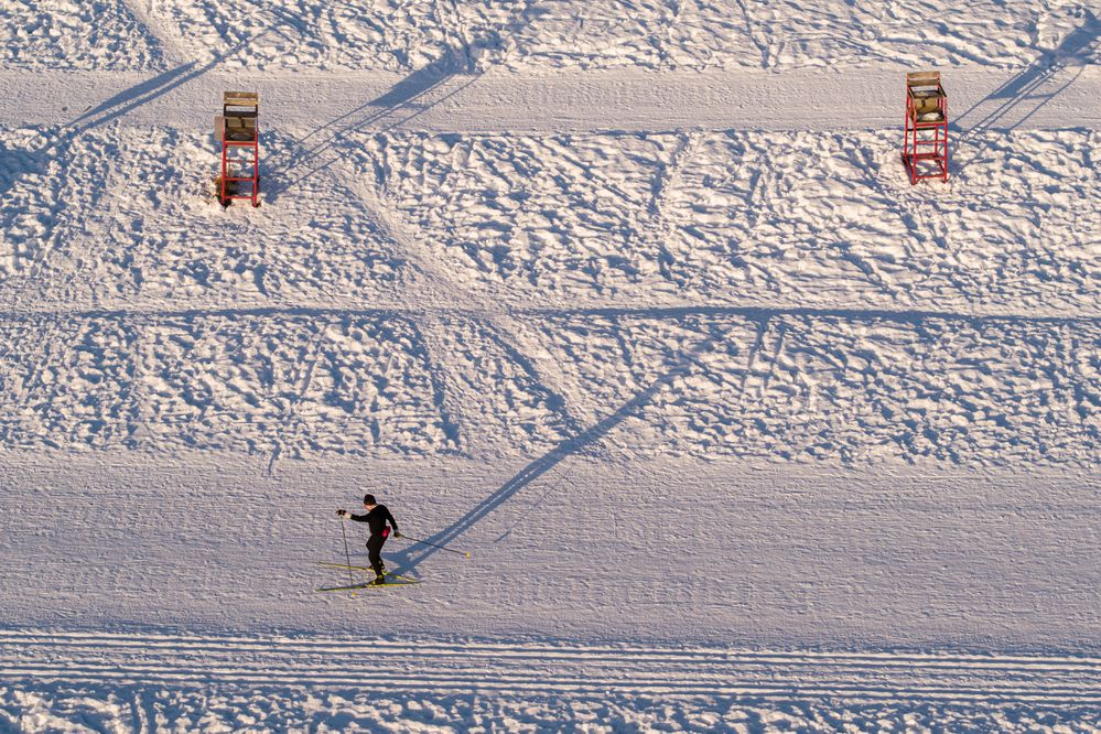 Trig Schleusner skis at Goose Lake on Friday, Jan. 22, 2021. In the summer the lake is a popular swimming spot. (Loren Holmes / ADN)