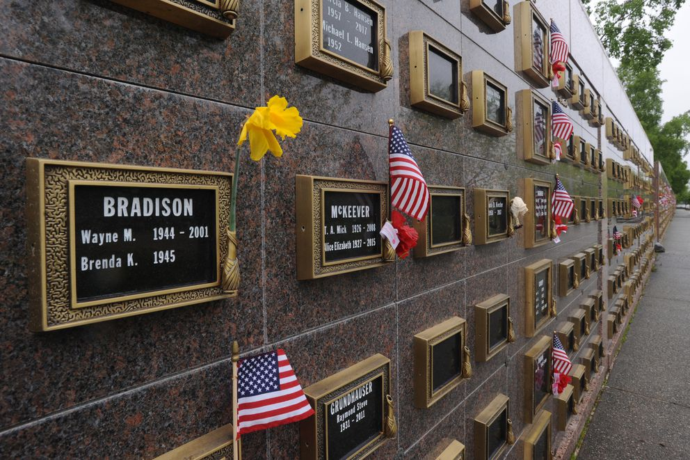 Columbarium wall at Anchorage Memorial Park Cemetery on Sunday, May 26, 2019. (Bill Roth / ADN)
