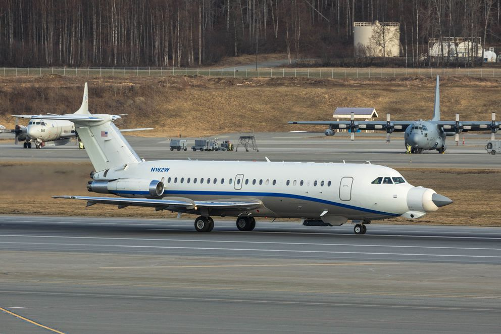 A Northrop-Grumman owned BAC 1-11 test aircraft takes off from Joint Base Elmendorf-Richardson during Northern Edge. Northrop-Grumman provides a number of parts for the F-35 fighter, including aradar system being tested using an F-35 nose cone. (Loren Holmes / Alaska Dispatch News)