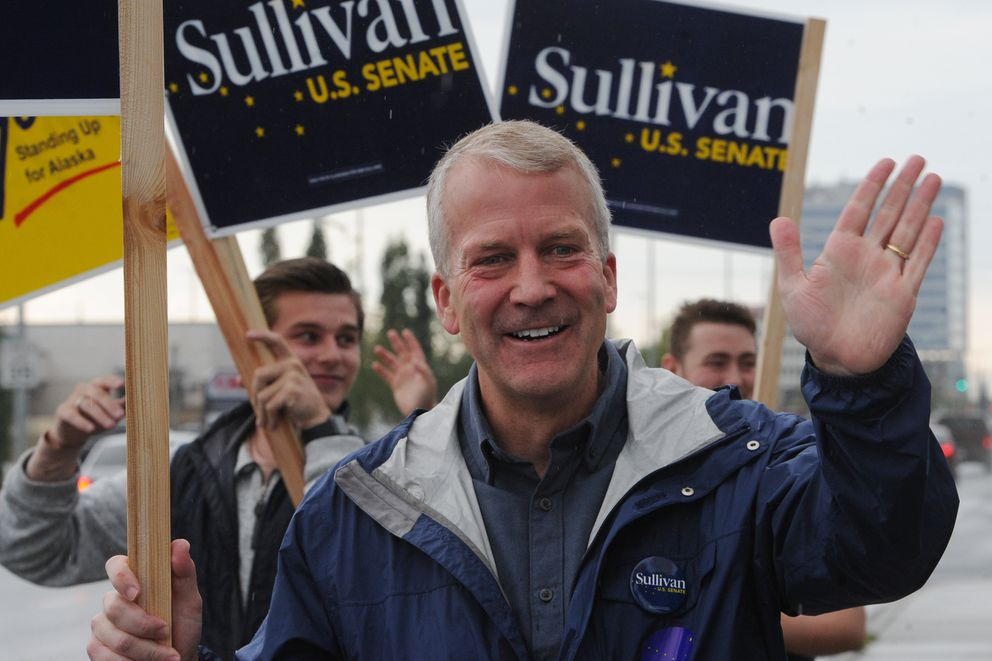 Sen. Dan Sullivan, (R-Alaska) campaigned at the corner on Seward Highway and Northern Lights Boulevard during the primary election on Tuesday, August 18, 2020. (Bill Roth / ADN)