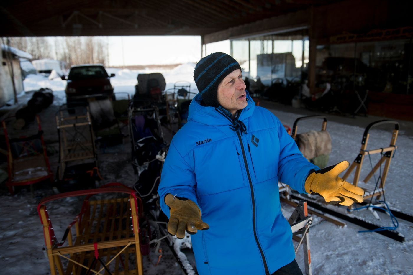 Martin Buser has 36 Iditarod finishes, has placed in the top ten 19 times and has won the race 4 times since 1980. Photographed on February 25, 2020. (Marc Lester / ADN)