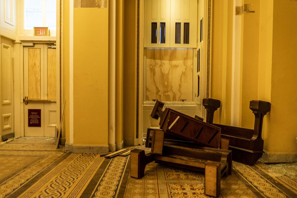 Pepper spray dust covers floors and broken furniture after hundreds of rioters stormed the Capitol. Washington Post photo by Melina Mara