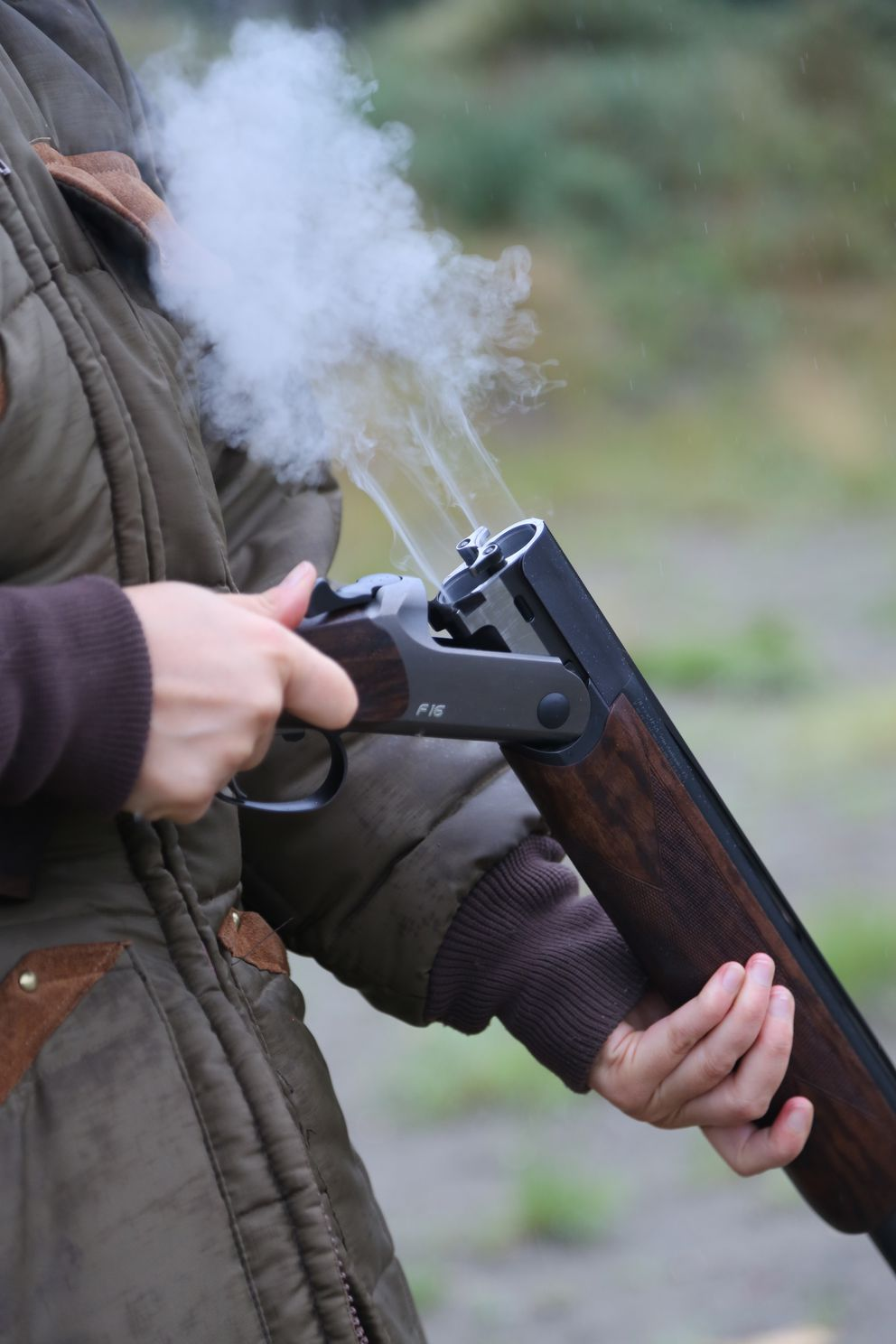 The classic 'aromatherapy ' shot from a 12-gauge Blaser, an over/under shotgun. (Photo by Steve Meyer)