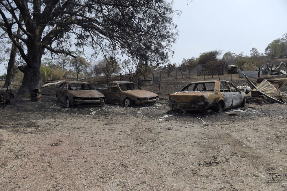 Cars burned out by wildfires are seen on a property in Buchan, East Gippsland, Australia, on Jan. 9, 2020. MUST CREDIT: Bloomberg photo by Carla Gottgens.