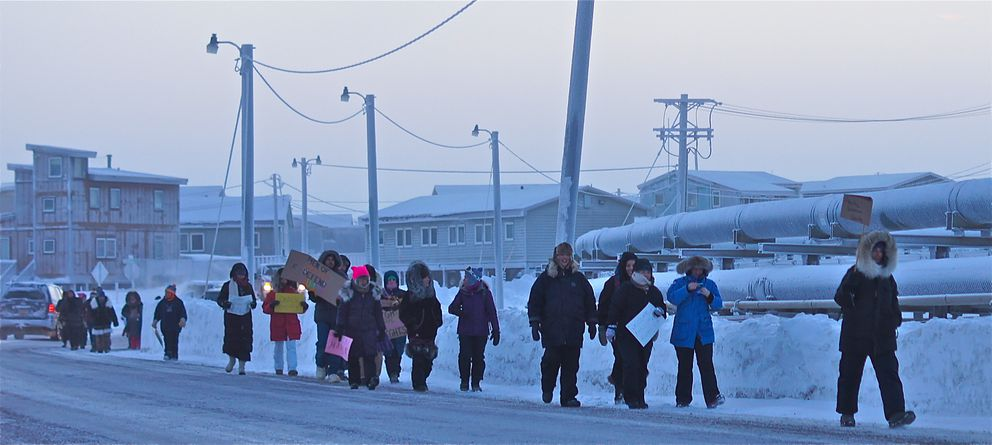 Likely the northernmost Women's March, a couple dozen people braved the minus 16 temperatures to make voices from the Arctic heard in Utqiagvik, formerly Barrow. (Kirsten Alburg)