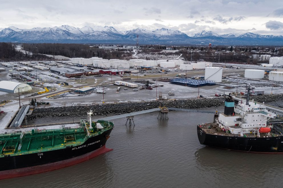 Tankers Atalanta T and Atlantic Frontier offload a combined 525,000 barrels of jet fuel at the Port of Alaska on Nov. 16. The port has a total liquid fuel storage capacity of 3.4 million barrels, or over 140 million gallons. (Loren Holmes / ADN)