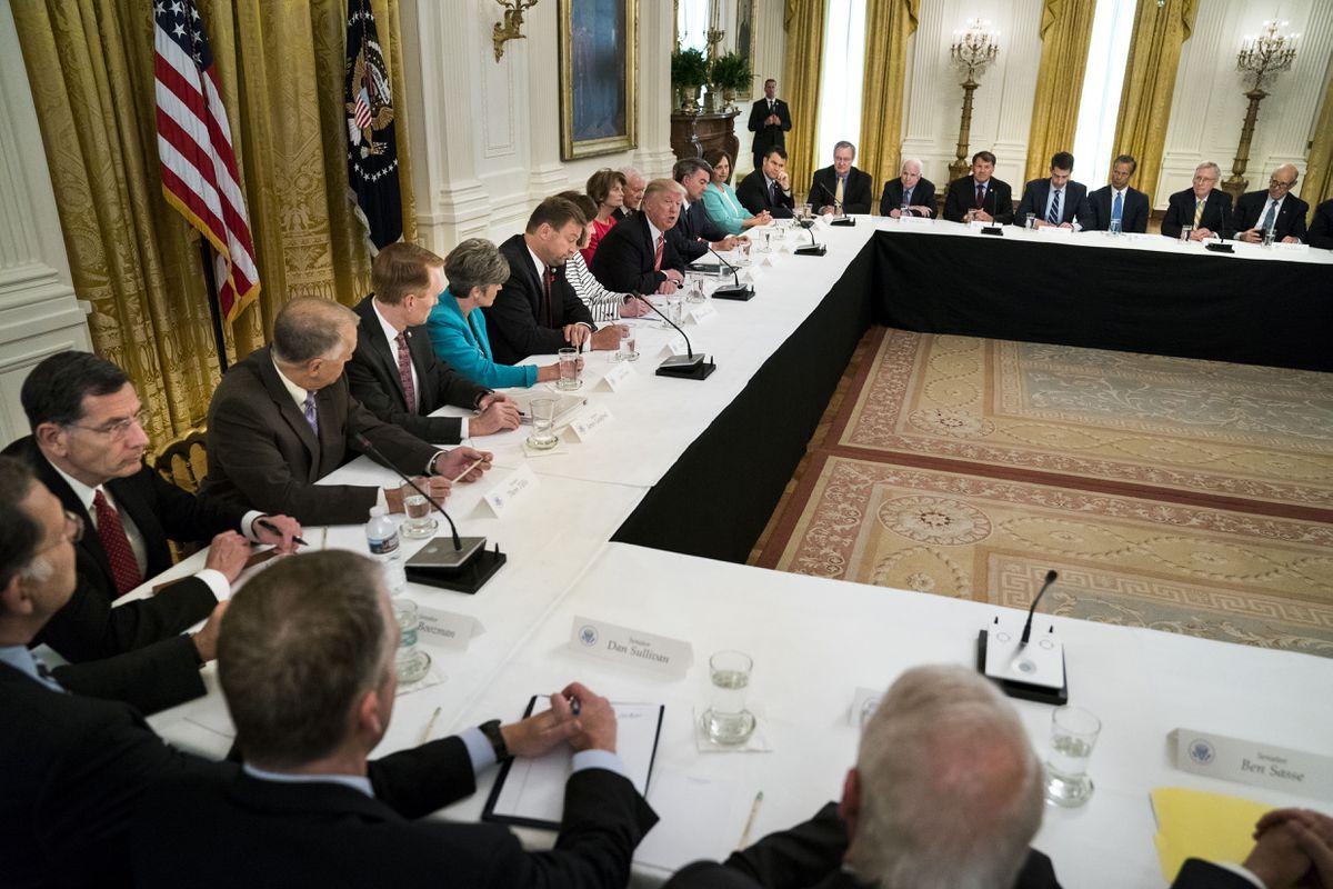 President Donald Trump hosts Republican senators to discuss health care legislation, at the White House in Washington, June 27, 2017. (Doug Mills/The New York Times file)