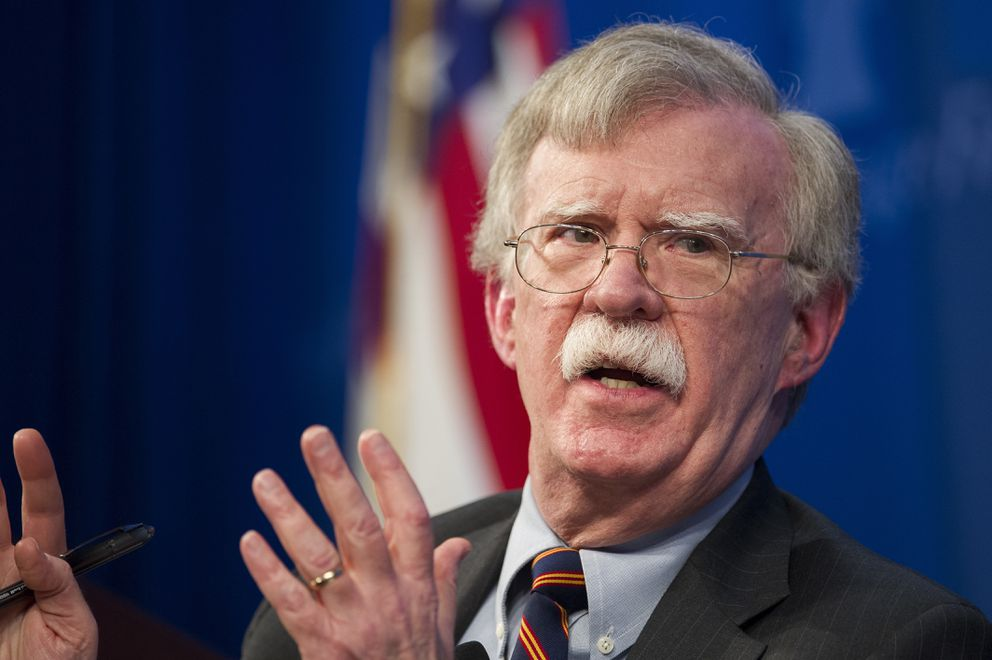 FILE - In this Dec. 13, 2018 file photo, National Security Advisor John Bolton unveils the Trump Administration's Africa Strategy at the Heritage Foundation in Washington. (AP Photo/Cliff Owen)