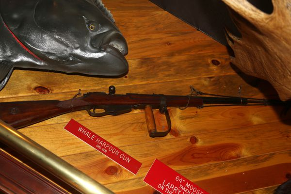 A harpoon gun, one of many items that celebrate the Alaskan outdoor life in our favorite restaurant. (Steve Meyer photo)