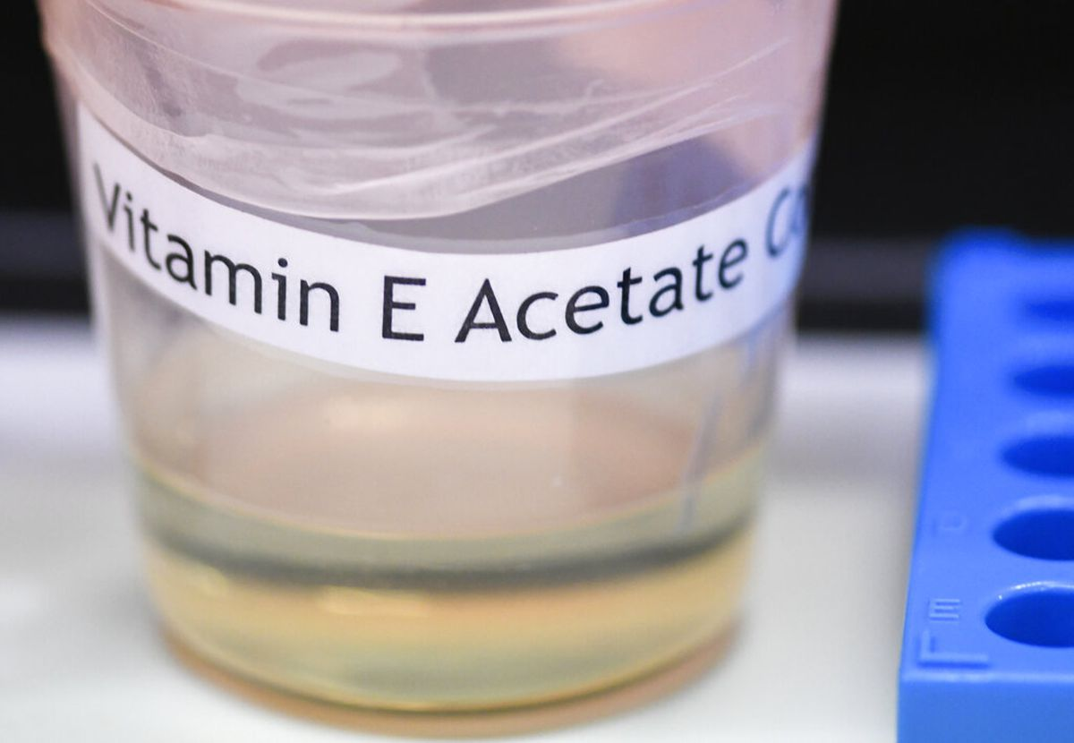 A vitamin E acetate sample is shown during a tour of the Medical Marijuana Laboratory of Organic and Analytical Chemistry at the Wadsworth Center in Albany, N.Y. The U.S. Centers for Disease Control and Prevention in Atlanta said fluid extracted from 29 lung injury patients who vaped contained the chemical compound in all of them. (AP Photo/Hans Pennink)