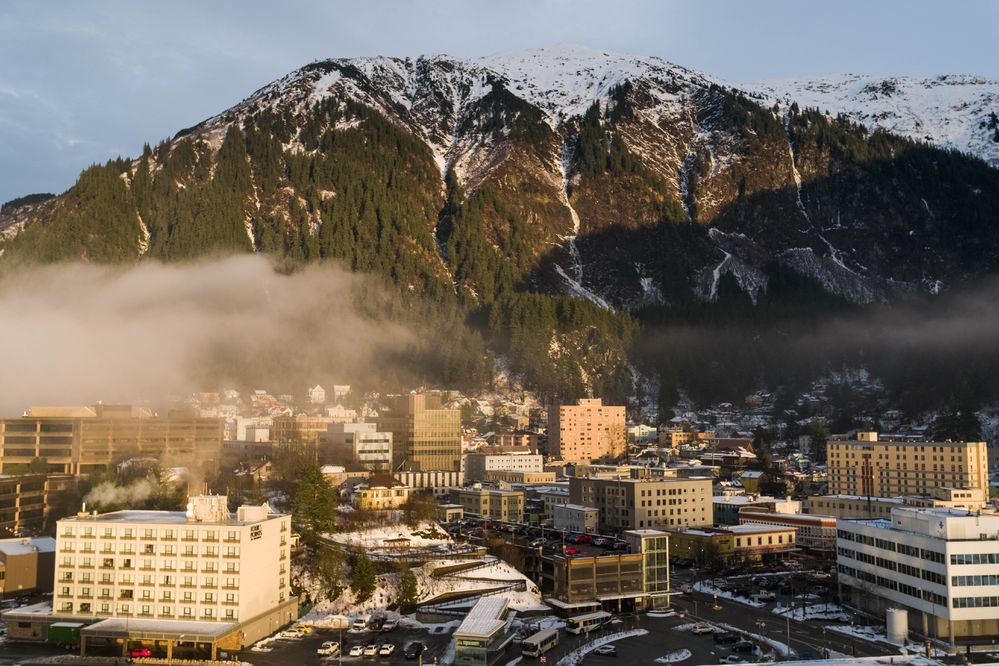 Downtown Juneau, photographed on Tuesday, Jan. 15, 2019, the first day of the legislative session. (Loren Holmes / ADN)
