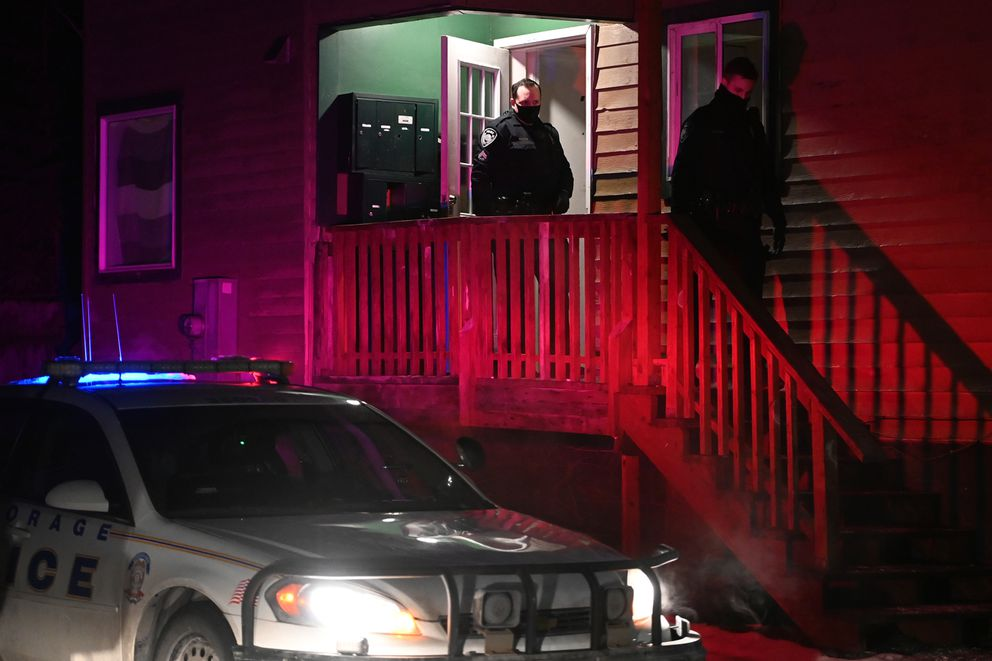 Anchorage Police responded to a shooting at an apartment complex on Thompson Avenue in Mt. View on Sunday evening, Jan. 24, 2021. Officers found two adult male victims that were transported to the hospital, one with life-threatening injuries. (Bill Roth / ADN)