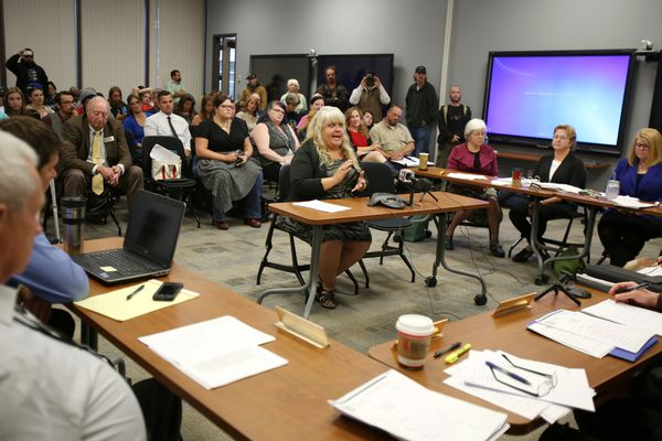 Pictured: Theresa Collins of Pot Luck Events comments at a Marijuana Control Board meeting in the Atwood Building on Monday Aug. 10, 2015.