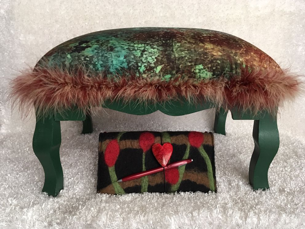'Fluffy Tuffet ' by Tami Phelps and 'Traveler's Note ' by Sue Sutton. Sisters Tami Phelps and Sue Sutton present their fine art, fiber art, felt work, furniture and fashion.