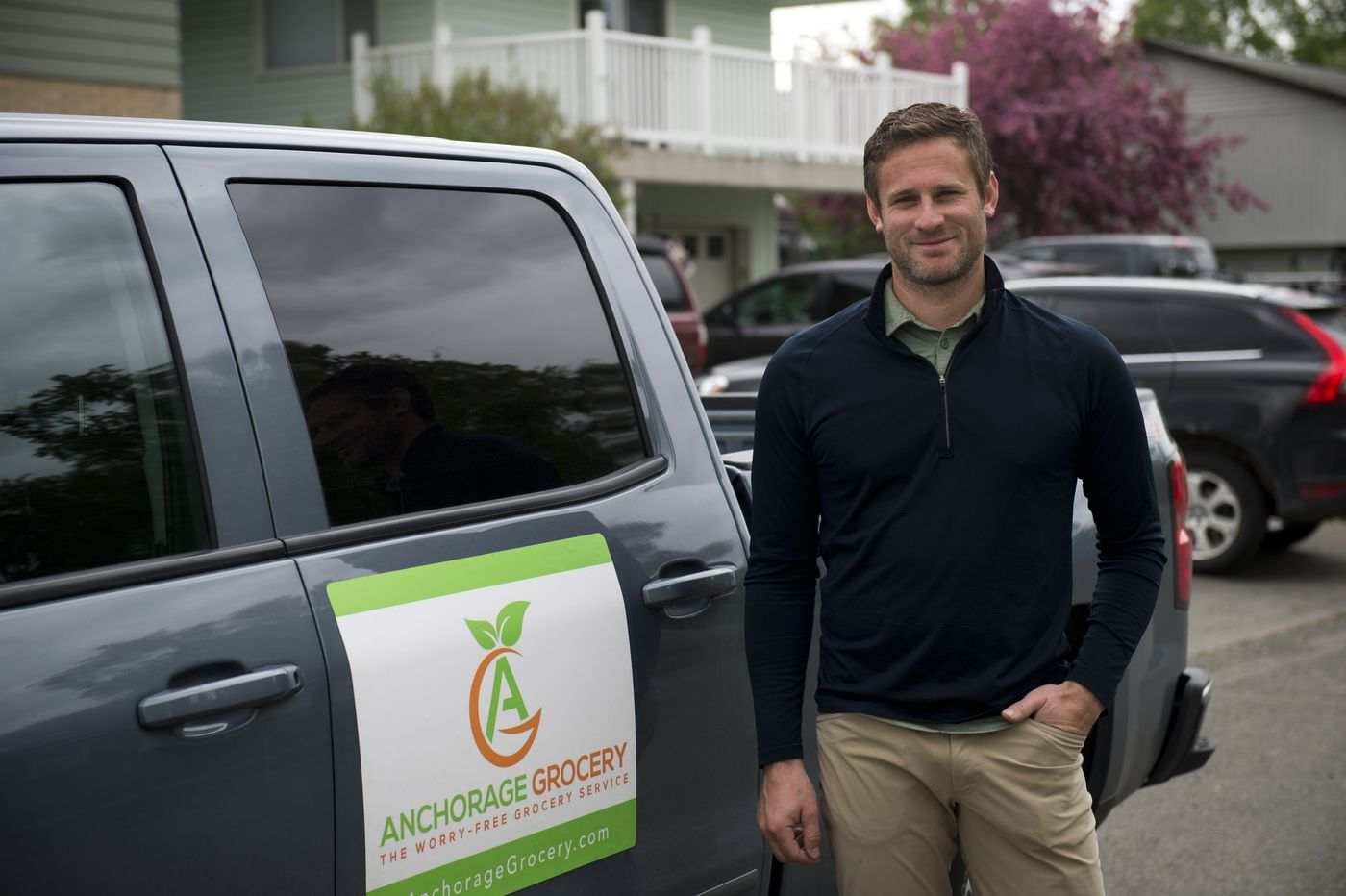 Seth Stetson operates Anchorage Grocery which delivers grocery orders made online. Photographed in Anchorage on June 2, 2020. (Marc Lester / ADN)