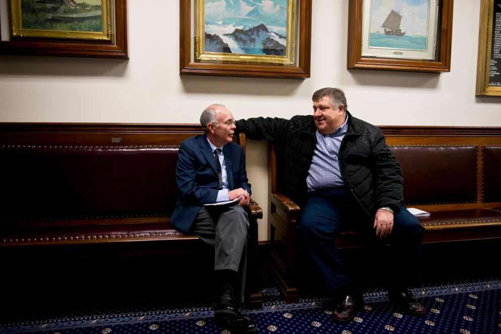 Lobbyists Royce Weller, left, and Ashley Reed, sit in the Capitol last year. (Marc Lester / ADN)