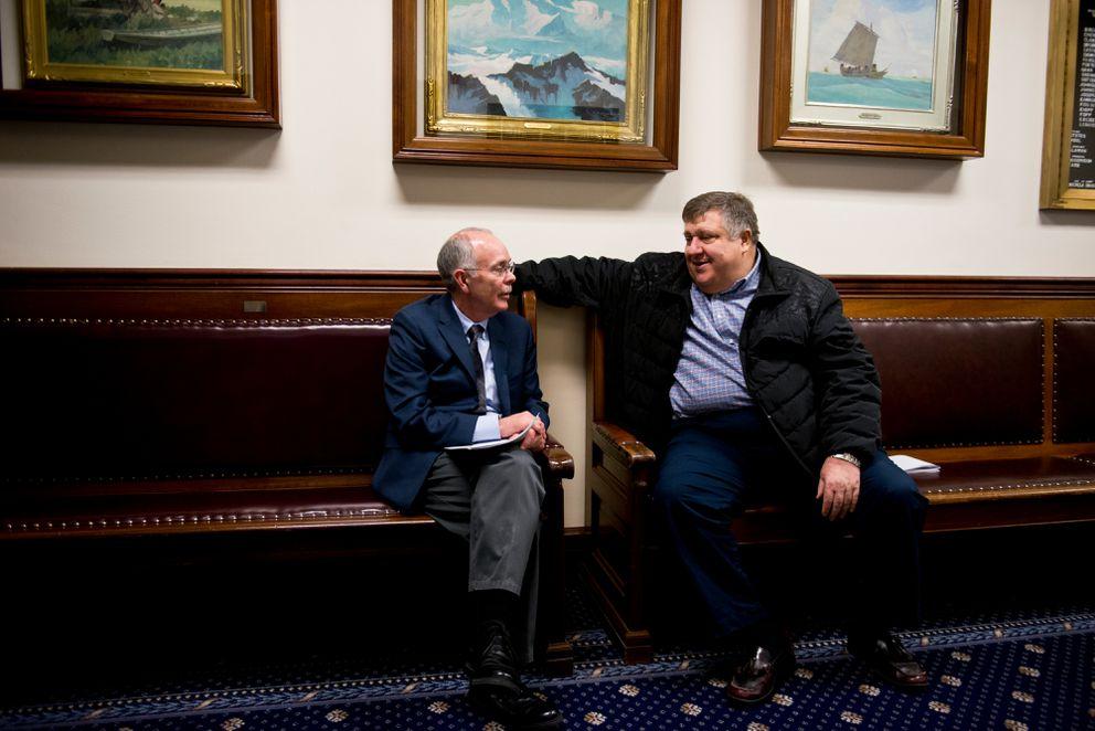 Lobbyists Royce Weller, left, and Ashley Reed,sitin the Capitol last year. (Marc Lester / ADN)