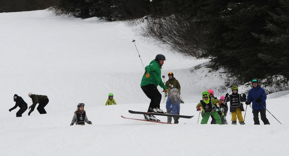 Hilltop Ski Area opened one run from top to bottom over the weekend as a result of their snowmaking operation. (Bill Roth / ADN)