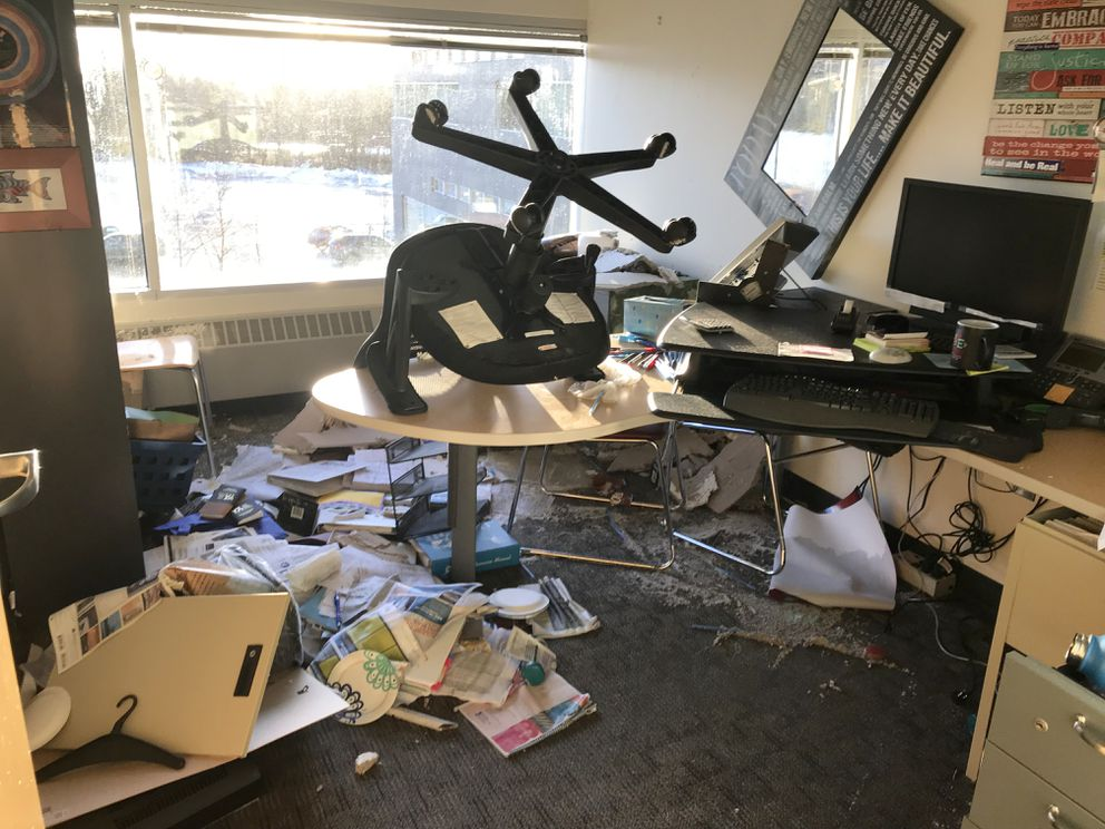 Office after office on the third floor of the Cook Inlet Tribal Council building were extensively damaged by the earthquake. Most of the worst damage was caused by water breaks. Photographed Dec. 3, 2018. (Anne Raup / ADN)