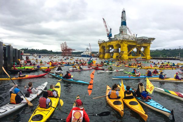 OPINION: In hurting Alaska, shortsighted leaders in Seattle and Washington state aiming to thwart Shell Oil's Arctic oil exploration will end up hurting their own constituents. Pictured: Activists in kayaks and other vessels, who oppose Royal Dutch Shell's plans to drill for oil in the Arctic Ocean, surround Shell's Polar Pioneer drilling rig docked in Elliott Bay, next to the Port of Seattle Terminal 5, during the
