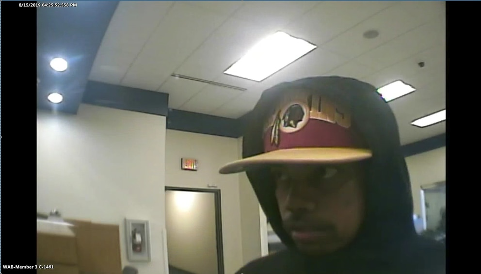 An unknown man robbed the Alaska USA Federal Credit Union on Hartzell Road at about 2:30 p.m. Thursday, Aug. 15. (Photo courtesy of the FBI)