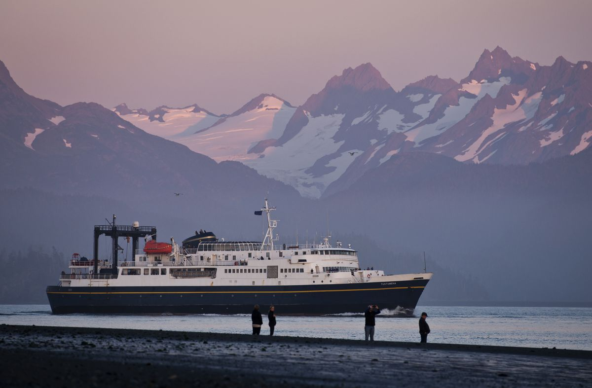 The M/V Tustumena, a 296-foot ferry of the Alaska Marine Highway System, departs Homer on Thursday evening, September 1, 2016. (Marc Lester / Anchorage Daily News)