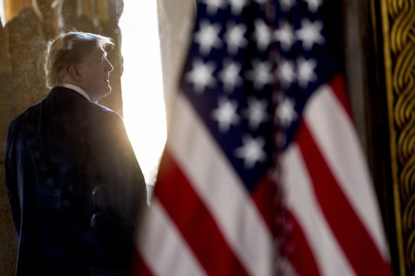 President Donald Trump departs following a Christmas Eve video teleconference with members of the military at his Mar-a-Lago estate in Palm Beach, Fla., Tuesday, Dec. 24, 2019. (AP Photo/Andrew Harnik)