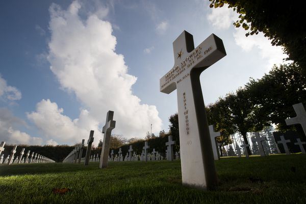 The tombstone of fallen U.S. soldier Freddie Stowers of the First World War's 371st infantry regiment, an African American unit, is seen at the Meuse-Argonne American Cemetery and Memorial in Romagne-sous-Montfaucon, eastern France, November 3, 2017. REUTERS/Philippe Wojazer