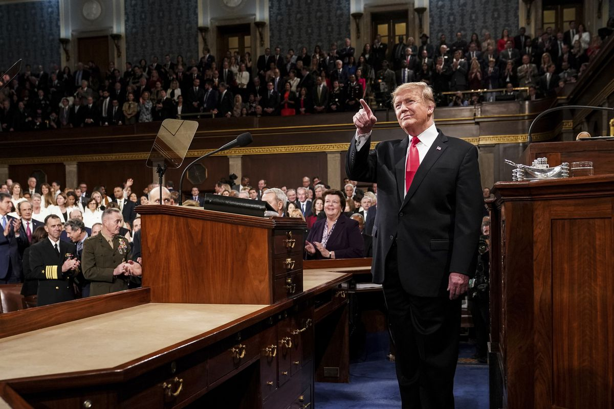 President Donald Trump gives his State of the Union address to a joint session of Congress, Tuesday, Feb. 5, 2019 at the Capitol in Washington. (Doug Mills/The New York Times via AP, Pool)