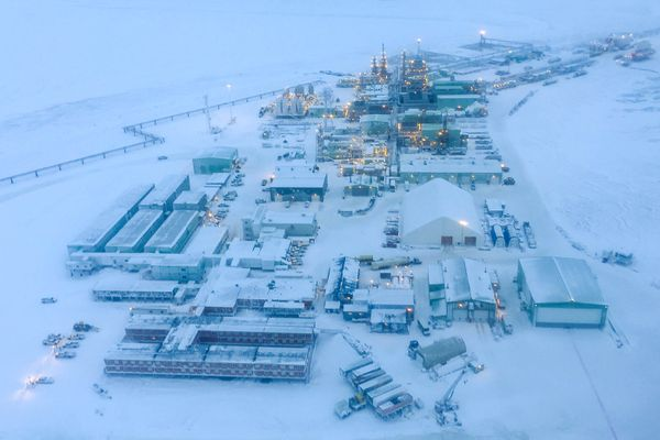 The Alpine Central Facility serves as the hub for the Alpine oil field, photographed on Tuesday, February 9, 2016. Alpine is only connected to existing oil development infrastructure by seasonal ice roads and by air. (Loren Holmes / Alaska Dispatch News)